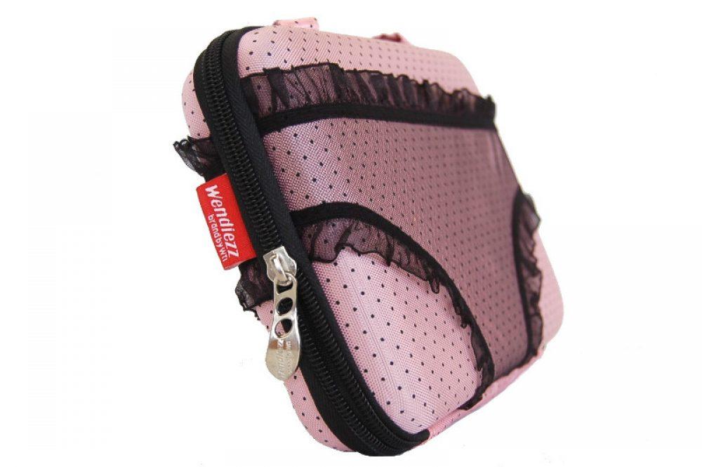Underwear case licht roze stip