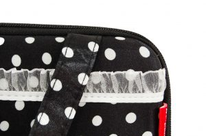 049. Underwear case black / white dot