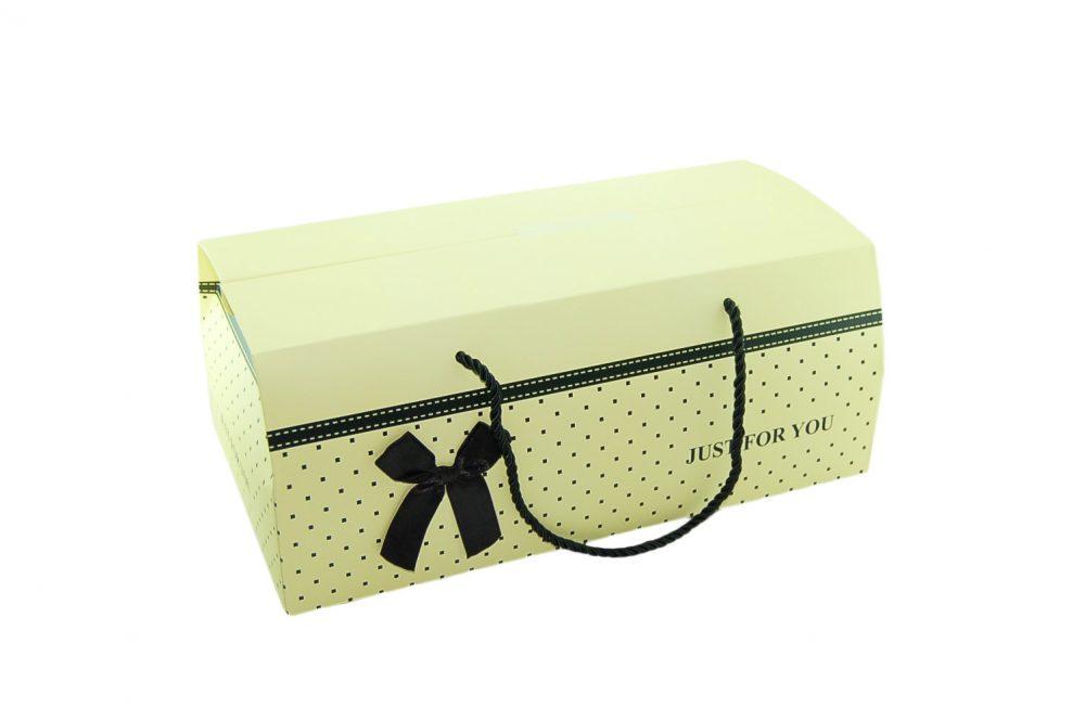 Aktie !! Box stippel geel/creme