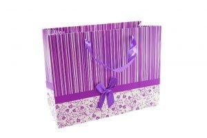 001. Verpakking streep met bloem paars/wit (12 st.)