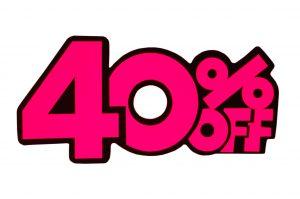 052. Kortingskaart 40% roze