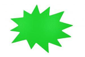 053. Schrijfbare kortingskaart ster neon groen