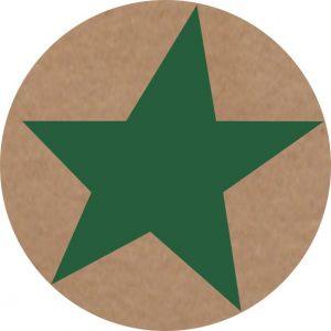 050. Stickers ster kraft – donker groen