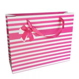 001. Verpakking streep met strik roze (12 st.)