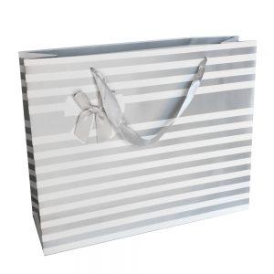 001. Verpakking streep met strik zilver (12 st.)