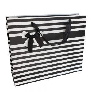 001. Verpakking streep met strik zwart (12 st.)
