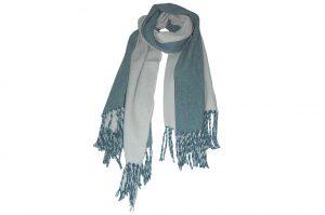 030. Sjaal gemêleerd blauw