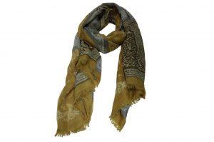 030. Sjaal print geel