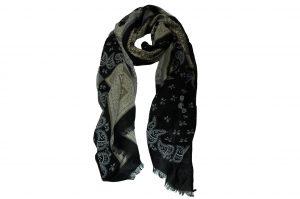 030. Sjaal print zwart