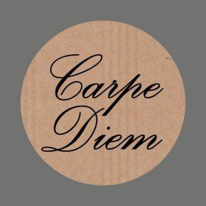 050. Stickers kraft tekst 'Carpe Diem'