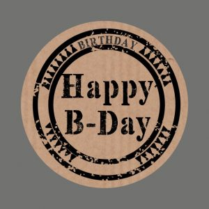 050. Stickers kraft tekst 'Happy B-Day'