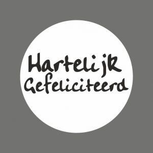 050. Stickers tekst 'Hartelijk Gefeliciteerd'