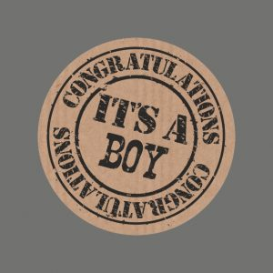 050. Stickers kraft tekst 'It's a Boy'