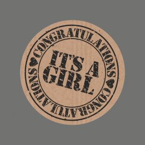 050. Stickers kraft tekst 'It's a Girl'