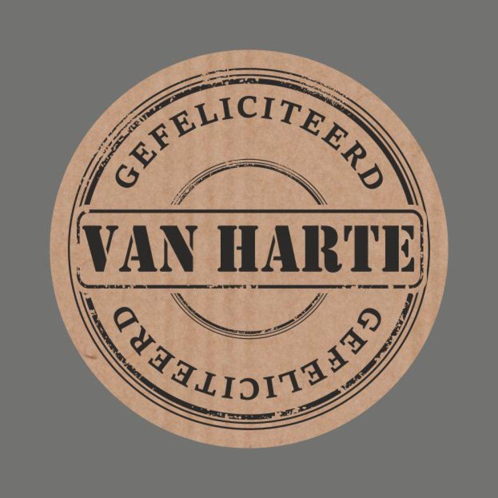gefeliciteerd text 050. Stickers kraft text 'Van Harte Gefeliciteerd'   Walking Trading gefeliciteerd text