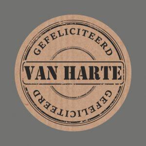 050. Stickers kraft tekst 'Van Harte Gefeliciteerd'