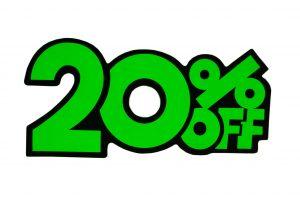 052. Kortingskaart 20% groen