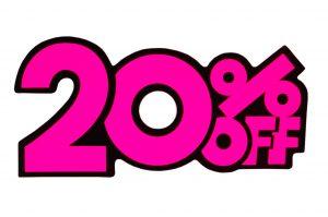 052. Kortingskaart 20% roze