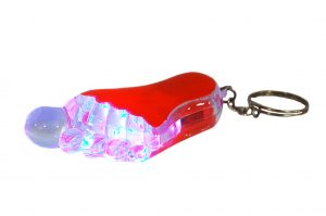 036. Sleutelhanger voet rood met licht