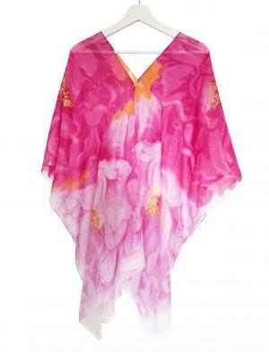 045. Poncho flower roze