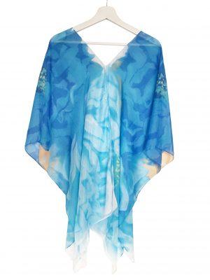 045. Poncho flower blauw