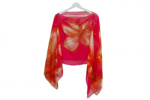 045. Poncho flower stripe pink