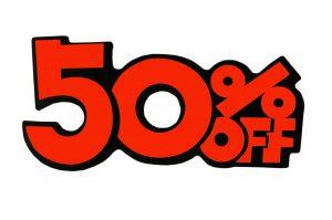 052. Kortingskaart 50% oranje