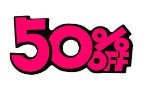 052. Kortingskaart 50% roze