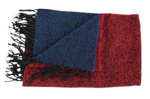 030. Sjaal gemêleerd blauw/ rood