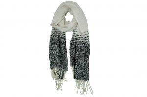 030. Sjaal gemêleerd zwart/ creme