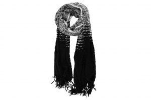 030. Sjaal gemêleerd zwart/ wit