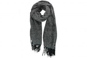 030. Sjaal gemêleerd zwart/ grijs