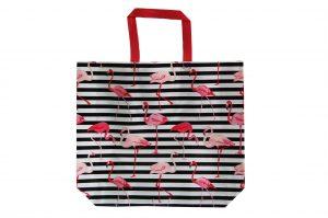 015. Non woven tas flamingo zwart/ wit (10 st.)