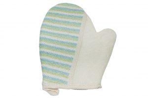 032. Scrub handschoen crème/ blauw