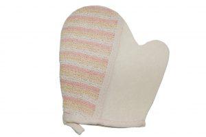 032. Scrub handschoen crème/ roze