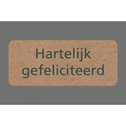 050. Stickers kraft tekst 'Hartelijk gefeliciteerd' rechthoek