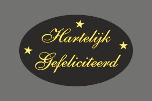 050. Stickers tekst 'Hartelijk gefeliciteerd' zwart met goud