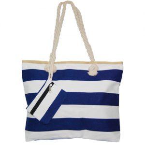 012. Strandtas blauw/ wit streep