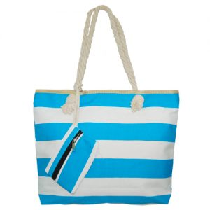 012. Strandtas licht blauw/ wit streep