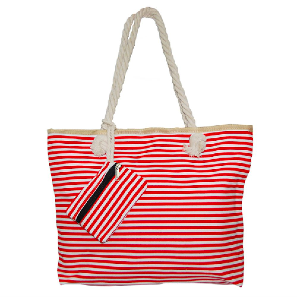 296676036d8c9 012. Beach bag red  white small stripe - Walking Trading