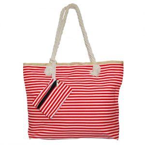 012. Strandtas rood/ wit smalle streep