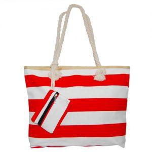 012. Strandtas rood/ wit streep