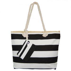 012. Strandtas zwart/ wit streep