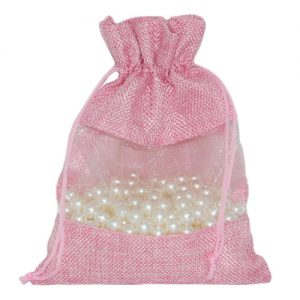 008. Organza packaging jute mesh pink (25 pcs.)