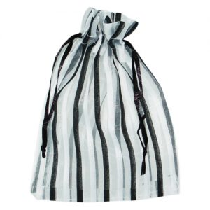 008. Organza packaging black/white stripe (25 pcs.)