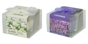 Geurkaars – geurkaars in display Lavendel en Jasmine