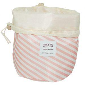 033. Toilettasje rond streep roze (per 10 stuks)
