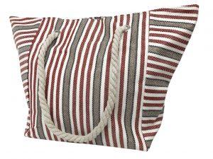 Strandtasche – strandtasche grau weiß rot