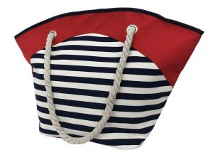 012. Strandtas streep blauw wit rood rond