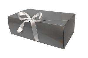 Box – box hoogglans grijs met witte strik (25 st.)